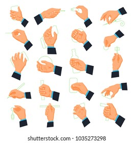 Mens hand icons. Male arm beyond the wrist, including the palm, fingers, and thumb, holding different objects. Vector flat style cartoon illustration isolated on white background