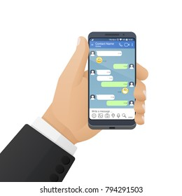 Men's hand keeps modern smartphone with a social network application or instant messenger on the screen. Vector illustration isolated on a white background