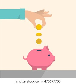 Men's hand puts coins to a pink piggy bank. Earnings, saving and finance concept. Vector illustration flat design.