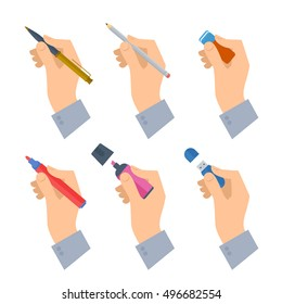 Men's hands with writing tools and office supplies set. Flat illustration of human male hands with stationery: pen, pencil, highlighter, flash drive. Vector isolated on white background design element