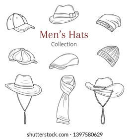 Men's hats collection, . Different types of hats, caps, winter knitted hats, summer straw hats vector sketch illustration,  isolated on white background.