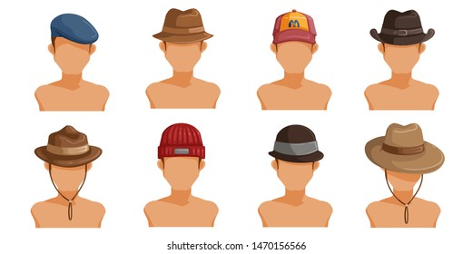 men's hats set. Collection of men's head.  Userpics of hair style different male. Variety and different types of fashion. Vector illustration.