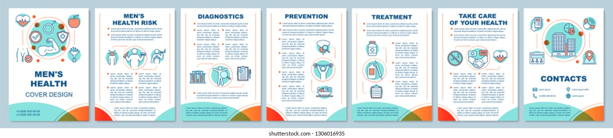 Men's health brochure template layout. Male health risks factors. Healthy lifestyle. Flyer, booklet, leaflet print design. Vector page layouts for magazines, annual reports, advertising posters