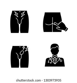 Men's health glyph icons set. Silhouette symbol. Prostate cancer diagnosis, digital rectal exam, inguinal hernia, urologist. Groin pain, bulging, doctor, male infertility. Vector isolated illustration