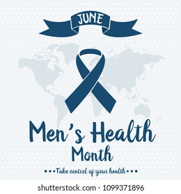 Men's health month card or background. vector illustration