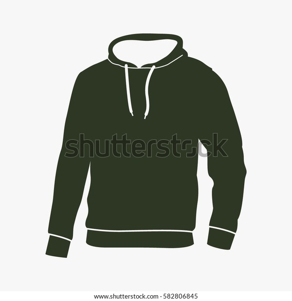 Men's hooded sweatshirt vector icon. Raglan sign.