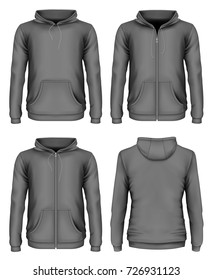 Men's hooded sweatshirt and zip-up hoodie. Front and back views. Different variants of front view of hoodie. Vector illustration
