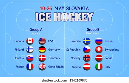 Men's Ice Hockey table. Vector illustration. Participating countries flag icon. Championship 2019. Hockey group stage poster. Graphic scoreboard for international tournament. winter sport competition