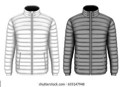 Men's insulated down jacket with zip pockets and  without hood. Vector illustration.