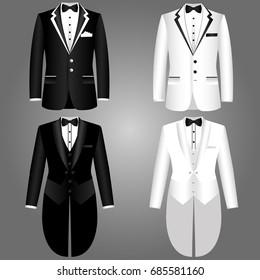 Men's jacket. Collection. Tailcoat. Wedding mens suit, tuxedo. Vector illustration.
