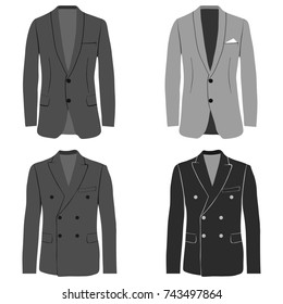 Men's jacket, double-breasted and single-breasted jacket, costume.. Flat design, vector illustration, vector.
