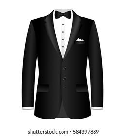 Men's jacket. Wedding men's suit, tuxedo. Vector illustration.
