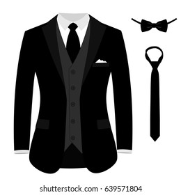 Men's jacket. Wedding men's suit, tuxedo. Vector illustration