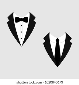 Men's jackets. Tuxedo. Wedding suits with bow tie and with necktie. Vector illustration
