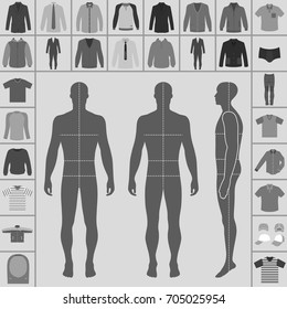 Men's large clothing outlined template set (single breasted suit, shirt, pullover, hoodie, quilted jacket etc.)  & man croquis silhouette, vector illustration isolated on white background