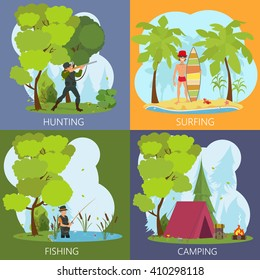 Men's leisure activities: fishing, hunting, hiking, surfing. leisure men outdoors. vector. leisure on the nature for men.