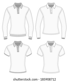 Men's long and short sleeve shirt design templates (front view). Vector illustration.
