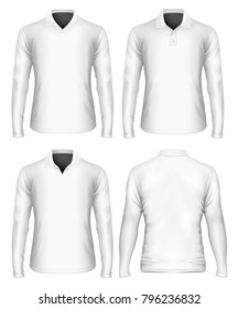 Men's long sleeve polo shirt. Three variants of polo collar, front and rear view. Vector illustration.