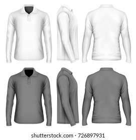 Men's long sleeve polo-shirt front, back and side views. Standard classic three buttons plaquet polo collar. Black and white variants. Vector illustration.