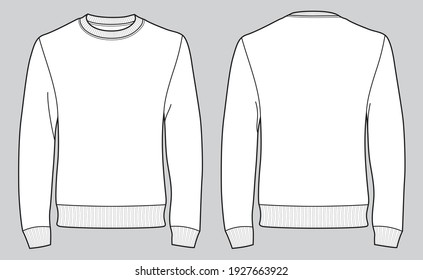 Men's long sleeve t-shirt with front and back views