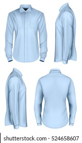 Men's long sleeved shirt. Front, side and back views. Fully editable handmade mesh, Vector illustration