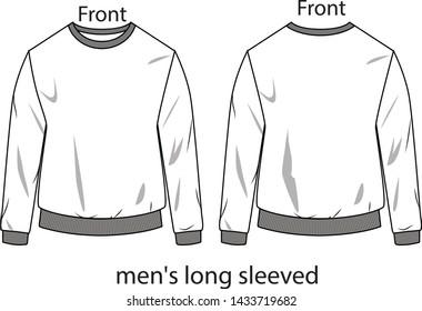 men's long sleeved vector template pattern