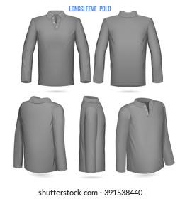 Mens Longsleeve Polo. Front, Back, 3/4, side, 1/4. Vector