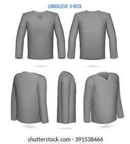 Mens Longsleeve v-neck. Front, Back, 3/4, side, 1/4. Vector