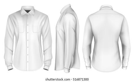 Men's long-sleeved shirt. Front, side and back views of shirt. Fully editable handmade mesh. Vector illustration.