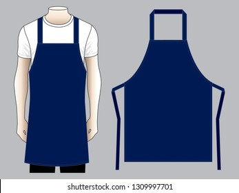 Men's Navy Blue Apron And Flat Pattern Vector Template.