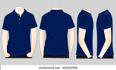 Men's Navy Polo Shirt Vector For Template.Front, Back And Side Views.