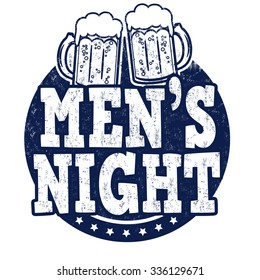 Men's night grunge rubber stamp on white background, vector illustration