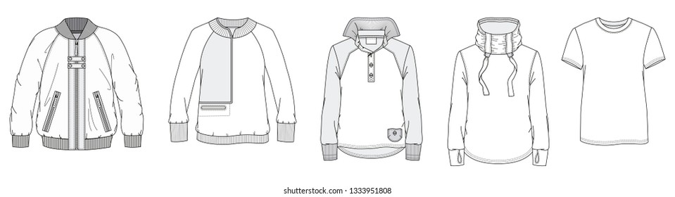 Men's Outwear. Fashion technical drawing.
