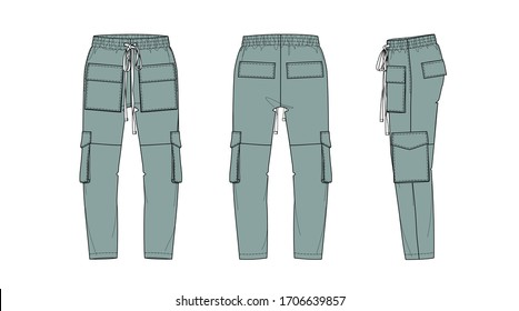 Men's pants with pockets in green color, flat sketch, front and back views