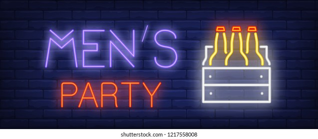 Mens party neon sign. Glowing inscription with three beer bottles in box on dark blue brick background. Can be used for night parties, stag parties, night clubs