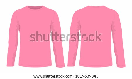 29539e51 Men's pink long sleeve t-shirt. Front and back views on white background