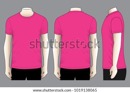349f6b10 Mens Pink T Shirt Vector Front Back Stock Vector (Royalty Free ...