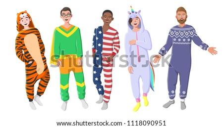 8fdbd2c17f Mens Plush One Piece Pajamas Hooded Onesie Stock Vector (Royalty ...