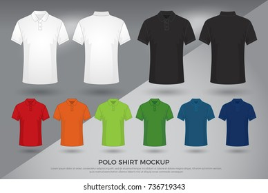 Men's polo shirt mockup, Set of black, white and colored blank polo shirts templates design. front and back view. vector illustration