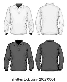Men's polo-shirt design template (front, back and side view). Long sleeve. No mesh. Vector illustration.