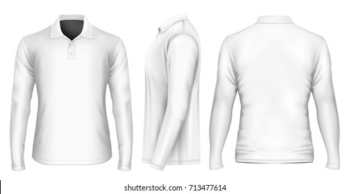Men's polo-shirt front, back and side views. Vector illustration.