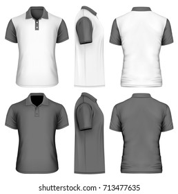 Men's polo-shirt front, back and side views. Different variants for your inspiration. Vector illustration.