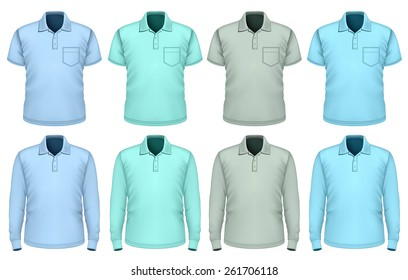 Men's polo-shirt short and long sleeve. Shades of blue. Vector illustration.