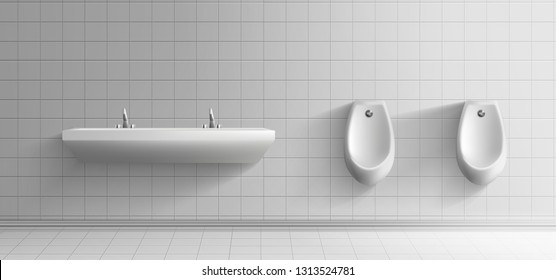 Mens public toilet room minimalistic interior 3d realistic vector mockup. Clean ceramic urinals with metal flushing buttons and long washbasin with two faucets on white tiled wall illustration