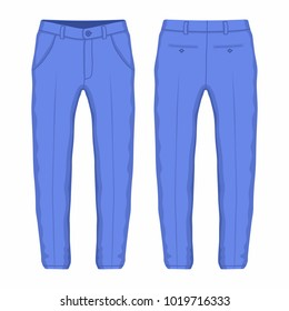 Men's purple trousers. Front and back views on white background