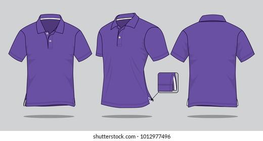 Men's purple vector polo shirt template.
