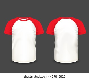 Men's raglan t-shirt with red short sleeve in front and back views. Vector template. Fully editable handmade mesh.