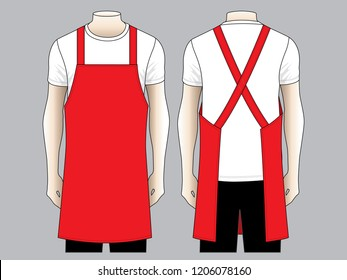 Men's Red Apron Vector for Template
