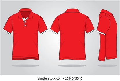 Men's red polo shirt vector (Shirts long in back short in front)