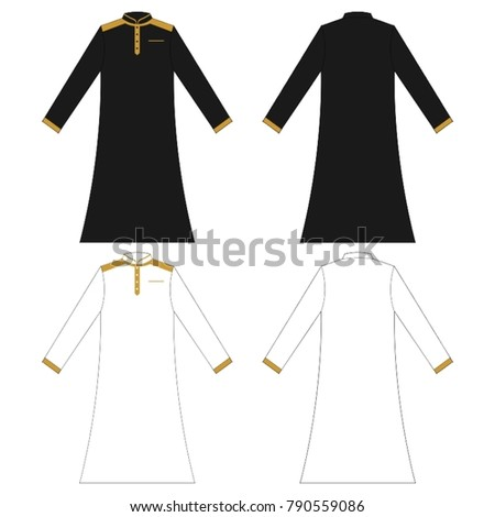mens robe abaya vector template stock vector royalty free